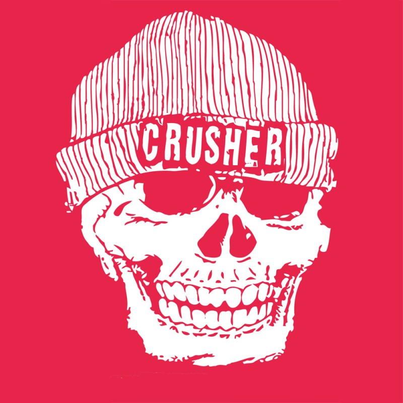 7a5a0f8636e Large Skull design with beanie hat   has the wording CRUSHER