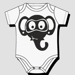 Cute Elephant Face Kids Body Suit