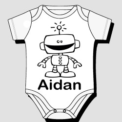 Robot with Name Kids Body Suit